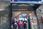 Labour's Prospective Parliamentary Candidate for Ilkley speaks at the town's station to rail commuters facing a triple whammy of rail fare rises